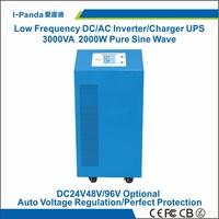 CE RoHS 24v/48v/96v 2000w solar inverter, hybrid inverter 2000w, grid tie charger 15A,LCD LED,AVR UPS peak power 4000W 4KW