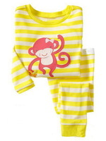 monkey,Wholesale Baby boys girls  Pure Cotton long sleeve T-shirt+pant /casual homewear/clothing set  6pcs/lot