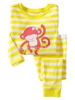 monkey,Wholesale Baby boys girls  Pure Cotton long sleeve T-shirt+pant /casual homewear/clothing set  6pcs/lot
