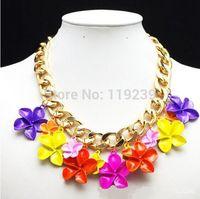 KN147 New 2014 Statement Chocker Collar Necklaces Multicolor Flower Designer Items Women Fashion Brand Luxury Jewelry