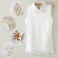 2014 New Sweet Fashion Women's Embroidery Lace Turn-down collar Handmade beaded Diamond Beading Vest Shirt 10 styles WF-623