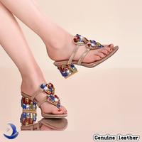 High quality Big size Sheepskin women shoes /Swarovski Colorful gemstones thick heels Sandals / Rhinestone slippers X1290