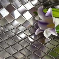 Stainless steel mosaic tile backsplash kitchen matte finish bath wall mirror shower flooring mosaics art decorative silver tiles