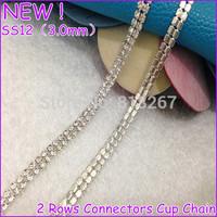 Perfect Shinny !SS12 density crystal stone Silver base , retail 2 Rows Crystal rhinestone cup chain,rhinestone Mesh Trimming DIY