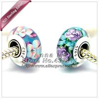 2pcs S925 Sterling Silver Different colors Murano Glass Beads Fit European pandora Charm Bracelets necklaces & Pendant 253-244