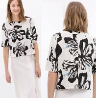 2014 New Women Ladies Fashion Black Flowers Short Sleeve T Shirt Causal Woman ZA Brand Designer Summer Tops Tee T-shirt A618