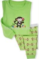 monkey pattern,Wholesale Baby boys girls Pure Cotton long sleeve T-shirt+pant pajamas/casual homewear/ clothing set  6pcs/lot