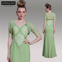 Dorisqueen 2014 New Mermaid Grass Green Beaded half Sleeve Mother Of The Bride Dresses Lace With Jacket Evening Dress Gorwn31016
