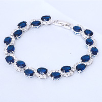 Bracelets Silver filled Topaz Design AAA Zircon & Blue Crystal Health Nickel & Lead free Fashion jewelry TB296