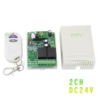 DC 24V two-way wireless remote control switch + White AB small two-button wireless remote control (Non-locking/self-locking)