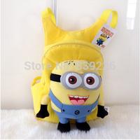 Children's backpack Cute 3D eyes Despicable Me Minion Plush Backpack Kids Cartoon Minions Animals Toys Preschool Bags B-17