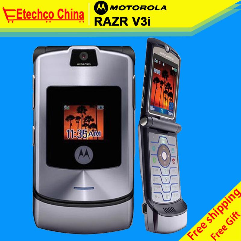 V3i Unlocked Original MOTOROLA RAZR V3i DG Vesion Quadband Mobile Phone Bluetooth Camera Cellphone refurbished 1 year warranty(China (Mainland))