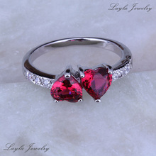 Classic Heart Red Ruby CZ Diamond Rings Silver / Platinum Plated Rings for Women Wedding Jewelry J0202