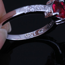 Classic Heart Red Ruby CZ Diamond 925 sterling Silver Rings for Women Wedding Jewelry Free Gift