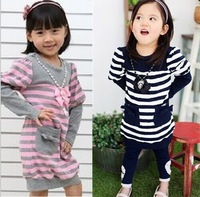 Spring Autumn Children's Clothing  Kids Clothes Girl girls Dress Necklace + Dress stripe Baby dress 5pcs/lot