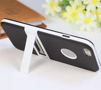 TPU Frame + PC Back Cover Hard Phone Case With Stand for iphone6 Without retail package