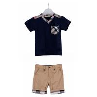 Stock ! New Arrival Retail new  casual child brand boy's set clothing plaid T shirt+Shorts 2 pcs suit summer children's clothes