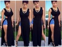 New 2014Women sexy summer party dress maxi perspective sexy dress Dress high split fashion bandage dress DHL