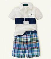 UK Design summer fashion 100% cotton polo boys&girl set short sleeve+shorts sports suit Children's clothes