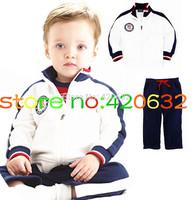 Autumn New 2014 European baby boy Sport suit brand Children Clothing kids infant tracksuit white jacket+navy Pants 2 PCS retail