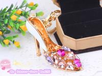 crystal shoes car keychain bags buckle Beautiful high-heeled shoes keychain