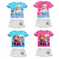 5Pcs/Lot New 2014 Summer Girls and boys Frozen Elsa&Anna Princess Clothing Sets dress Baby&Kids Cute T-Shirt+ Shorts suit set