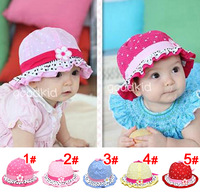 Free Shipping Cute Baby Girls Toddlers Polka Dot Flower Bowknot Cotton Summer Sun Hat Cap 6-18 Months