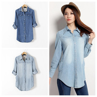 New Women Denim Shirt With Long Sleeve XS-3XL Plus Size,   Loose Vintage All-match Female Jeans Tops Shirts Mid-length  #JM06871
