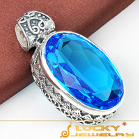 Vintage Style Xmas Day Gift 925 Silver Swiss Blue Topaz Silver Pendant For Men P0526 Free Chain
