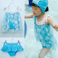 new 2014 Frozen girls swimwear 3-pieces , fashion children Elsa swimsuits,high quality baby & kids swimsuits 5sets / lot