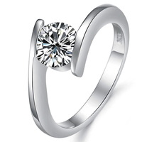 Platinum Plated Fashion Unique Trendy Austrian Crystal Twist Solitaire Rings For Women