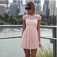 free shipping 2014 summer dress fanshou eenschin embroidery crochet lace pleated tulle patchwork girl chiffon dress women