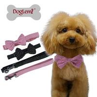 Free shipping !!Polka Dot Design Fashion Bow Nylon Pet Dog Collar Leash Adjustable 2 Colors
