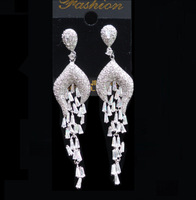 Luxury Vintage European AAA Cubic Zircon Long Tassels Drop Earrings CZ Pave Setting Fashion Earrings For Bridal Wedding Party