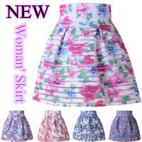 Summer New 2014 Women Bust Skirt Hollow Short Skirts Female High Waist Splice Puff skirt Elastic Bud Skirts