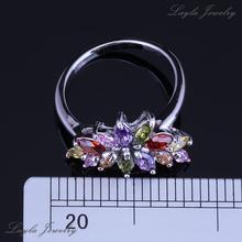 Exquisite Garnet Peridot Amethyst Morganite Combine Topaz Flower Rings 925 Sterling Silver Rings for Women Free