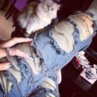 2014 exclusive custom SLP hole jeans pants feet pencil pants women ladies lady models