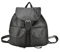 Free Shipping The New 2014 Fashionable Rivets Design Of PU Material Black Backpack QQ1701