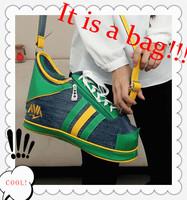 2014 Real Women Shoes Bags Personality Women's One Shoulder Cross-body Menssenger Bag Canvas Color Block Cute Bags