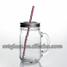 4pc/set 16oz clear honeycomb style mug with handle with lid with straw mason jars(China (Mainland))