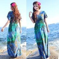 Summer Dress 2014 Women Maxi Dress Beach Boho Holiday Dress Floral Sundress V Neck Free Shipping Q909