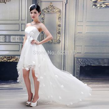 Yayiku горячая распродажа милая бисером пояса спереди короткие длинные вернуться Ruched свадебные платья