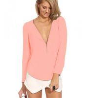 Six colors New Fashion Autumn  Winter slash neck women chiffon Spring print girl prom free shipping cheap shirts