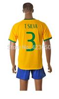 Best Saler 2014 New Brazil Soccer Jerseys #3 T.Silva World Cup Brazil Home Game Shirt Top Quality