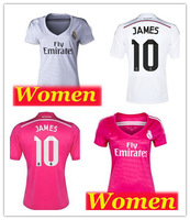 #10 James RODRIGUEZ 14 15 Real madrid WOMEN  thai quality soccer jersey LADY HOME /AWAY shirt 2015 Real madrid  Female JERSEY