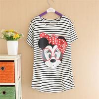 M,L,XL, Plus Size Women tops Tee Striped Duck Fashion Lady T Shirts Brand  Tops Cartoon T-Shirts 4191