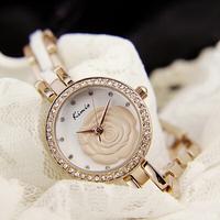 2014 New Kimio fashion 3d Rose flower vintage watch diamond crystals Ceramic Women women dress watches Lady girl wristwatches