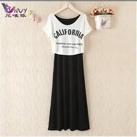 Summer dress 2014 desigual casual fashion two piece vestidos modal long white black beach bohemian novelty maxi dress W136