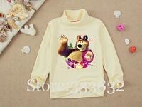 Wholesale Masha and Bear Monster high Smeshariki Frozen princess Beige long sleeve girls t shirt children t shirts kids t shirt
