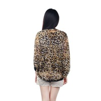4475Women Korean Fashion Sexy Leopard Tin Chiffon Long Sleeve Shirt Top Blouse